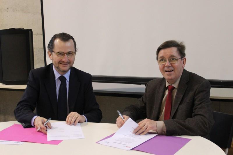 Bruno RUSSO, président de l'UIMM Alsace et Marc RENNER directeur de l'INSA de Strasbourg