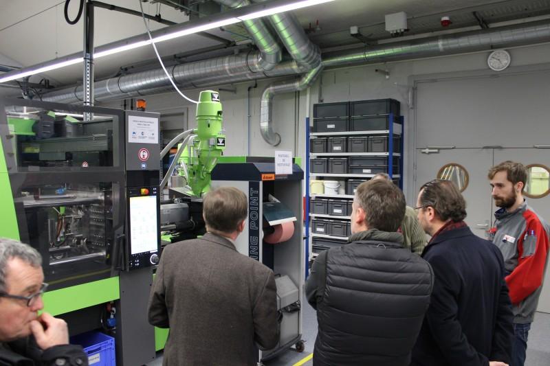 visite plateforme mécanique (presse à injectée financé en partie par la région Alsace et la CCI Région Alsace)