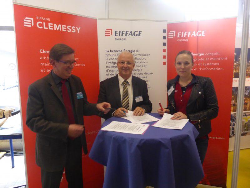 Marc Renner, directeur Insa Strasbourg  ; Alain Herrmann, directeur de Clemessy Alsace ; Sarah Brouillard, Campus Manager,Eiffage Énergie