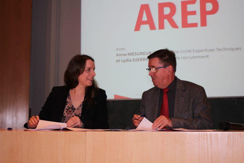 Anne Mesureur, responsable unité expertise technique AREPet Marc Renner, directeur de L'INSA Strasbourg