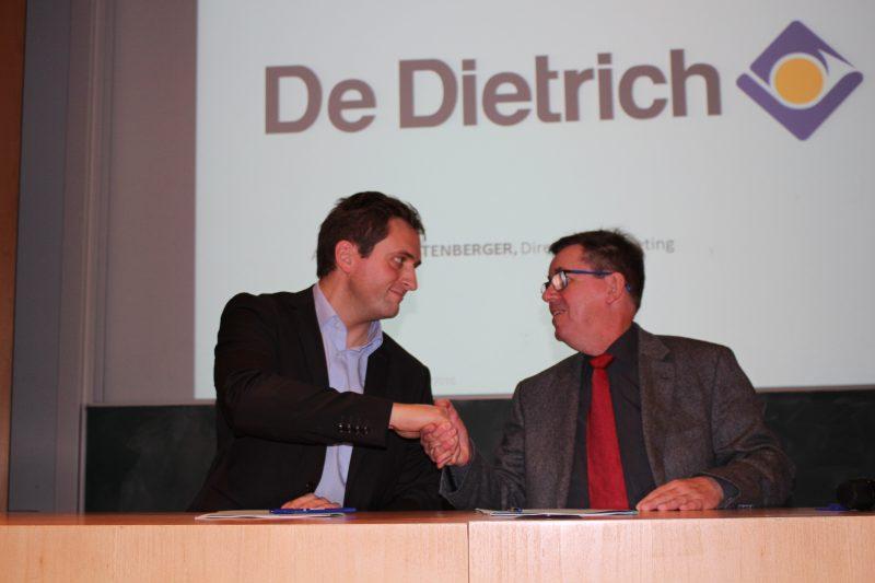 Yves Lichtenberger, directeur marketing De Dietrich et Marc Renner, directeur de l'INSA Strasbourg