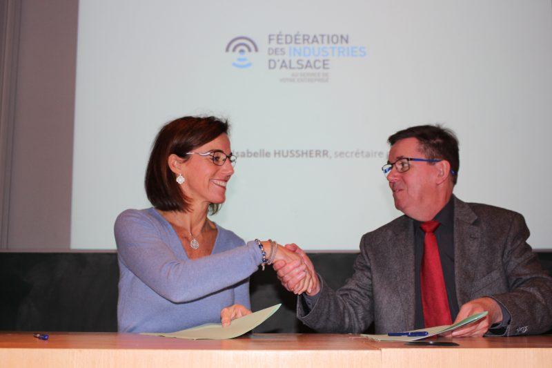 Isabelle Hussherr, secrétaire générale Fédération des industries d'Alsace et Marc Renner, directeur de l'INSA Strasbourg
