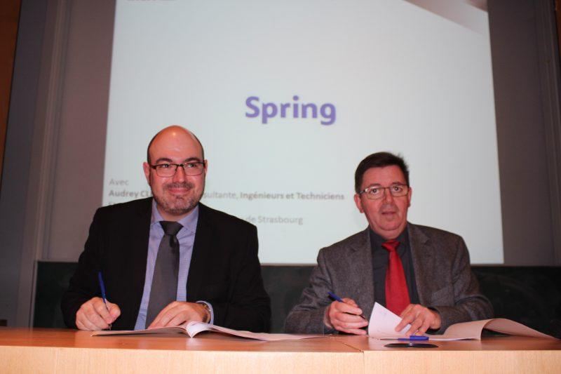 Lucas Consoloni, consultant sénior chez Spring et Marc Renner, directeur de l'INSA Strasbourg