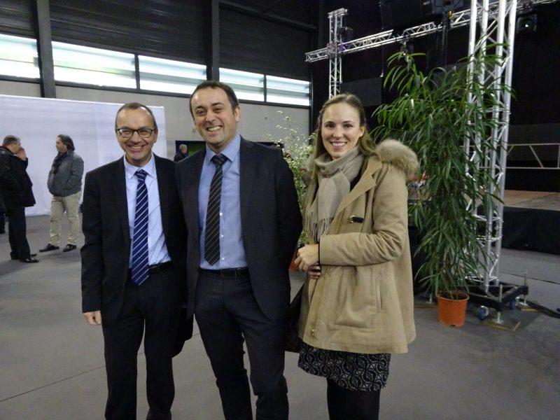 Bernard Flament, enseignant en génie climatique, Marc Gratius, directeur Régional Grand Est Eiffage Énergie et Sarah Brouillard Campus Manager Eiffage Énergie